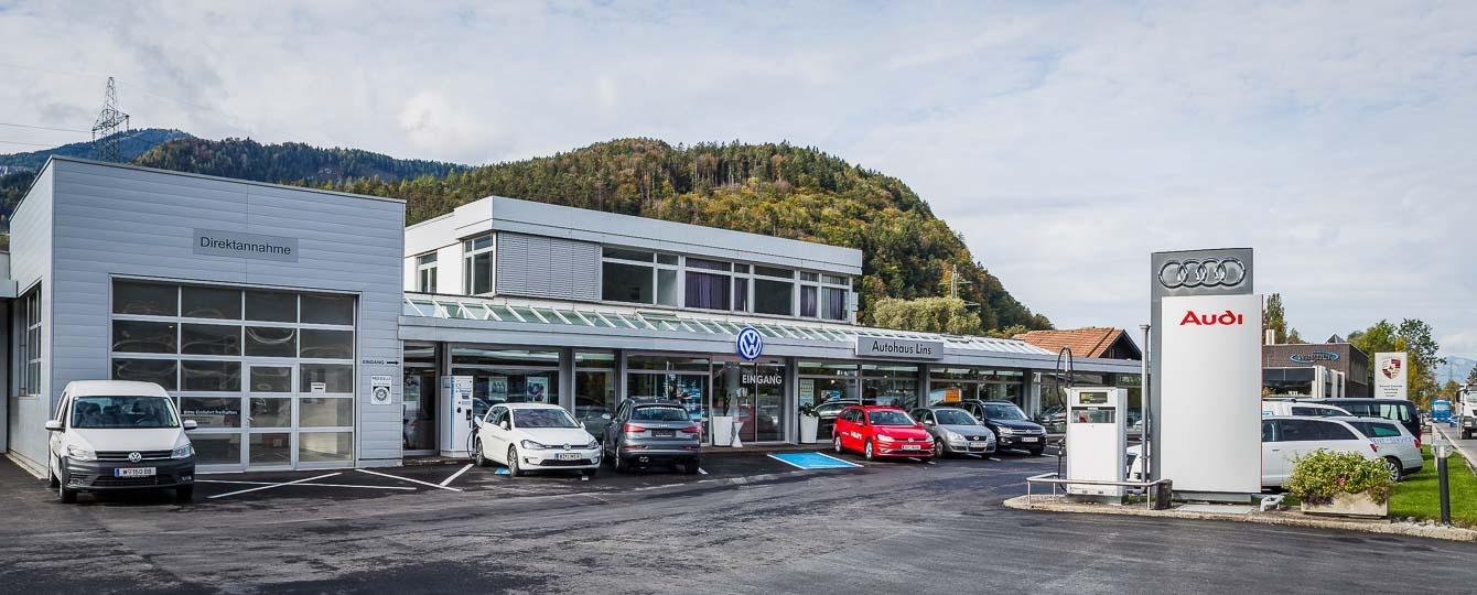 Autohaus Lins mit Filialen in Nüziders und Schruns mit den Marken VW, Audi, VW Nutzfahrzeuge, Porsche, Seat